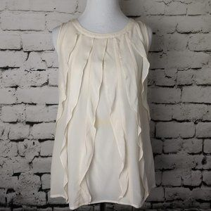 Halogen Silk Cream Ruffled Front Tank Top